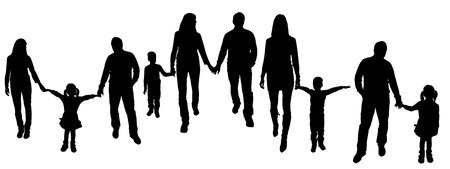 mother holding baby: vector illustration with family silhouettes on a white background .