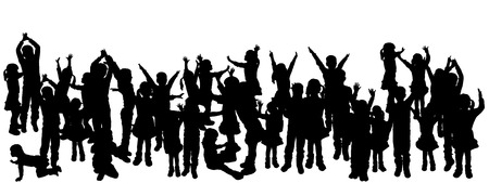 crowd happy people: vector illustration with family silhouettes on a white background. Illustration