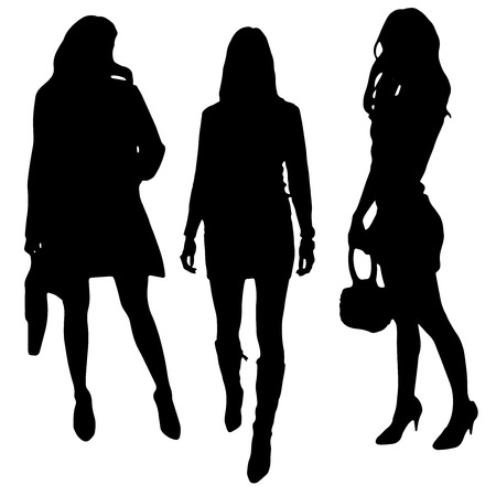 black woman: vector silhouette of a woman on a white background Illustration