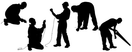 angle grinder: Vector silhouettes man with tools on a white background.