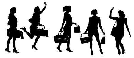Vector silhouette of a woman with a bag on a white background.  Vector