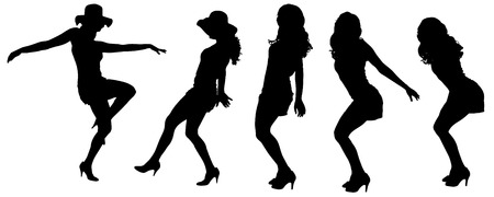 female stripper: Vector silhouettes of sexy women with long hair.  Illustration