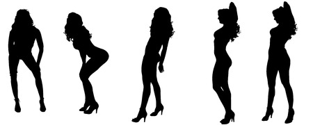 Vector silhouettes of sexy women with long hair.  Vector