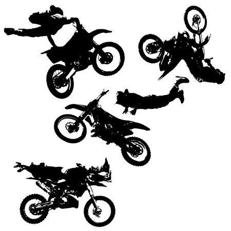 fmx: vector silhouette of a motocross rider jumping