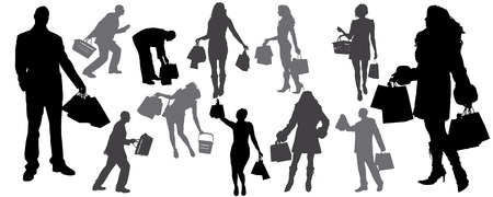 shoping: vector silhouette of shoping diferente man and woman