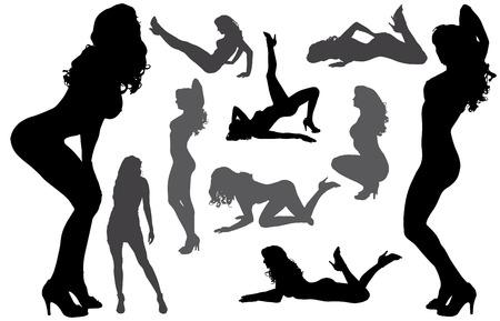 Vektor-Silhouetten von sexy Frauen mit langen Haaren.