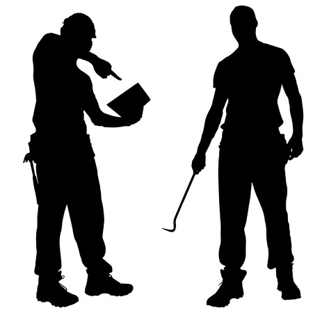 crowbar: Vector silhouettes man with tools on a white background.
