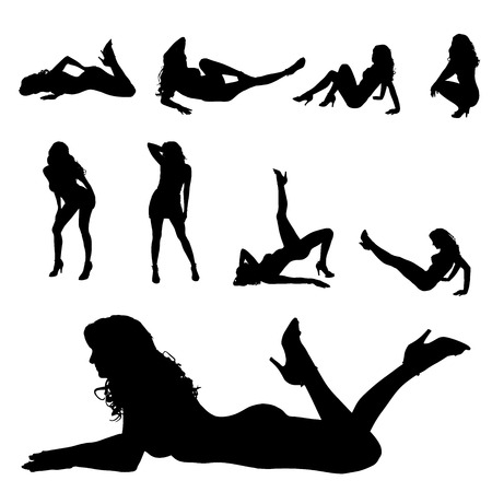 sexy girl dance: Vector silhouette of a woman who dances on a white background.