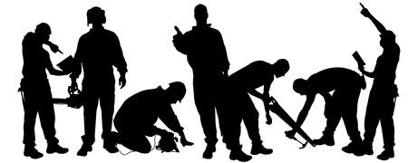 Vector silueta de un hombre que trabaja con herramientas sobre un fondo blanco. Foto de archivo - 26029544
