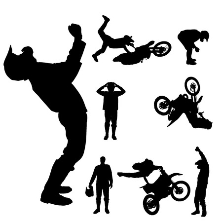 Vector silhouette of a motocross rider on a white background.  Illustration
