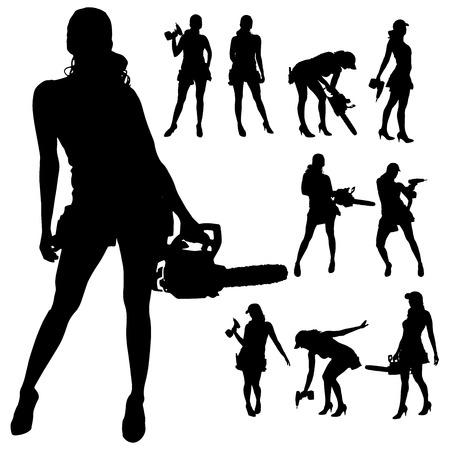 白い背景の上のツールで働く女性のベクトル シルエット。  イラスト・ベクター素材