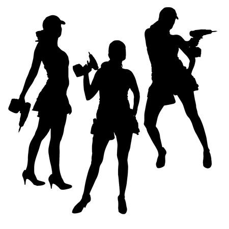 Vector silhouet van een vrouw die werkt met tools op een witte achtergrond.