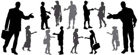 vector silhouette of handshake diferente man and woman  Vector