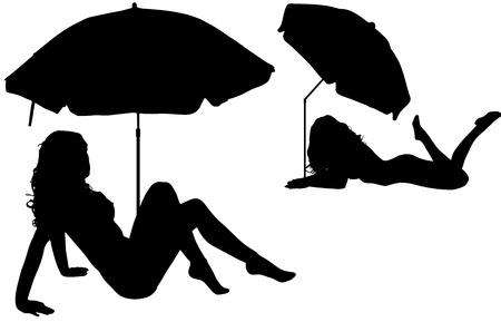 sexy umbrella: Vector silhouettes women on beach on white background