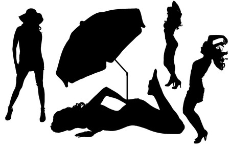 sexy hot couple: Vector silhouettes women on beach on white background