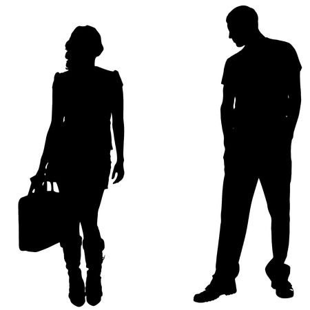 sexy hot couple: Vector silhouettes man and women on white background