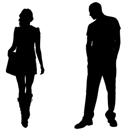 hot couple: Vector silhouettes man and women on white background