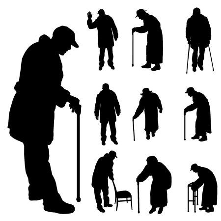 오래 된 흰색 배경에 사람들의 벡터 실루엣.