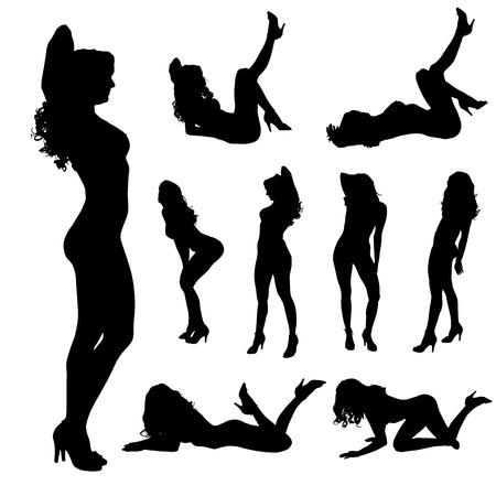 Vector Silhouette einer Frau, die auf einem weißen Hintergrund tanzt.