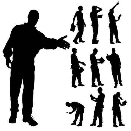 Vector silhouette of construction manager on a white background.