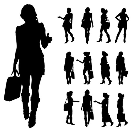 silhouette of women: Vector silhouette of a businesswoman on a white background.  Illustration