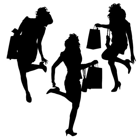 gift accident: Vector silhouette of a woman with shopping bags on a white background.  Illustration