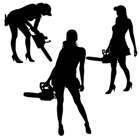 Vector silhouette of a woman working with tools on a white background. Vector