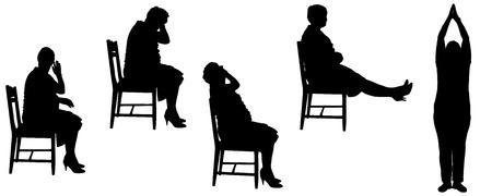 白い背景の上の古い女性のベクトル シルエット。