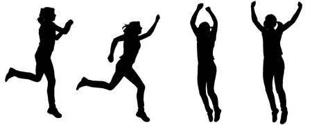 Vector silhouette of a woman who jumps on white background. Vector