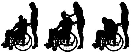 medicine wheel: Vector silhouettes of people in a wheelchair on a white .
