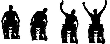 wheelchair: Vector silhouettes of people in a wheelchair on a white .