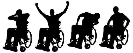 vieil homme assis: Vector silhouettes de personnes en fauteuil roulant sur un fond blanc.
