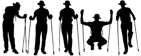Vector silhouettes of people with trekking stick on a white background.  Vector