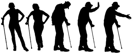 old couple walking: Vector silhouette of the old people on a white background.