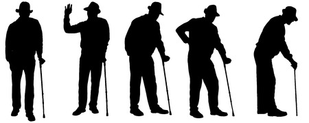 old couple walking: Vector silhouette of the old man on a white background.  Illustration