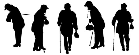 old couple walking: Vector silhouette of the old woman on a white background.  Illustration