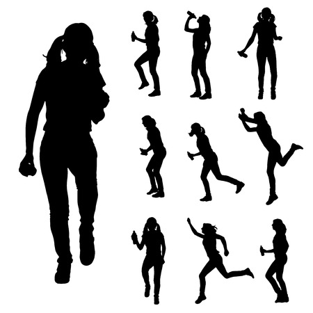 Vector silhouette of a woman who runs isolated on white  Vector