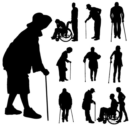 Vector silhouette of disabled people isolated on white  Vector