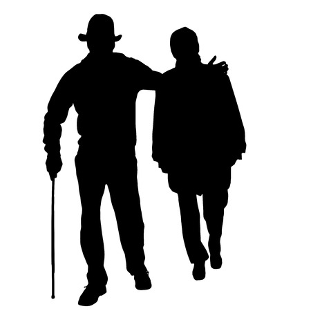 old couple walking: Vector silhouette of old people isolated on white