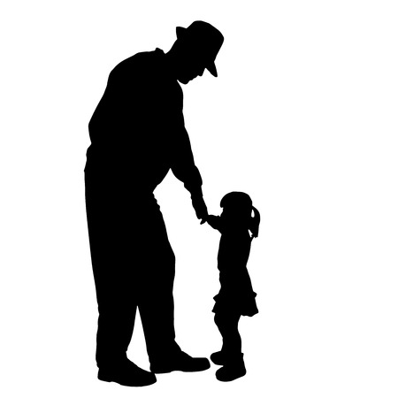 infirm: Vector silhouette of old people with a child isolated on white  Illustration