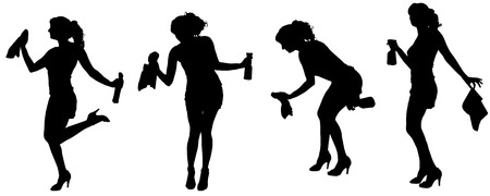 cinderella: Vector silhouette of a cleaning lady on a white background.
