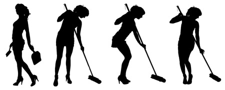 Vector silhouette of a cleaning lady on a white background.  Vector