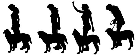 dog walker: Vector silhouette of a woman with a dog on a white background.
