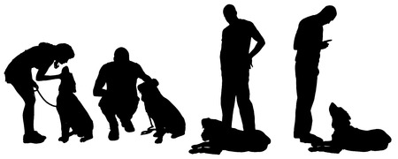 Vector silhouette of a man with a dog on a white background.  Vector