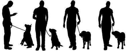Vector silhouet van een man met een hond op een witte achtergrond.
