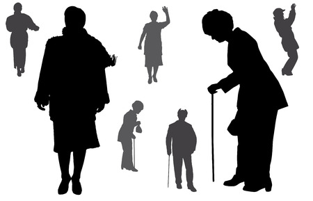 old family: Vector silhouette of old people on a white background.  Illustration