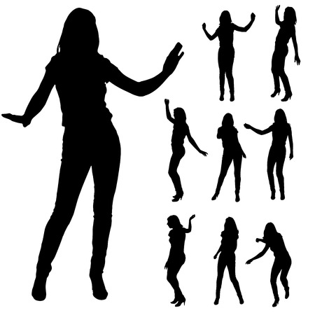 freedom woman: Vector silhouette of a woman who dance on a white background. Illustration