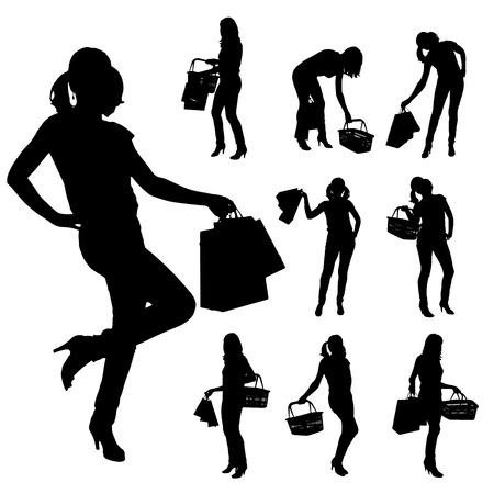 Vector silhouette of a woman who buys on a white background. Vector
