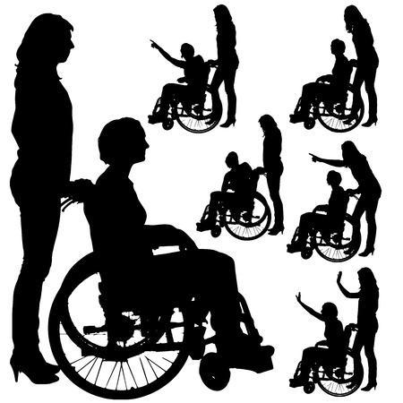 Vector siluetas de personas en una silla de ruedas sobre un fondo blanco. Ilustración de vector