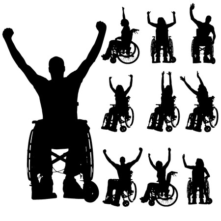 persona malata: Vector sagome di persone in sedia a rotelle su uno sfondo bianco.